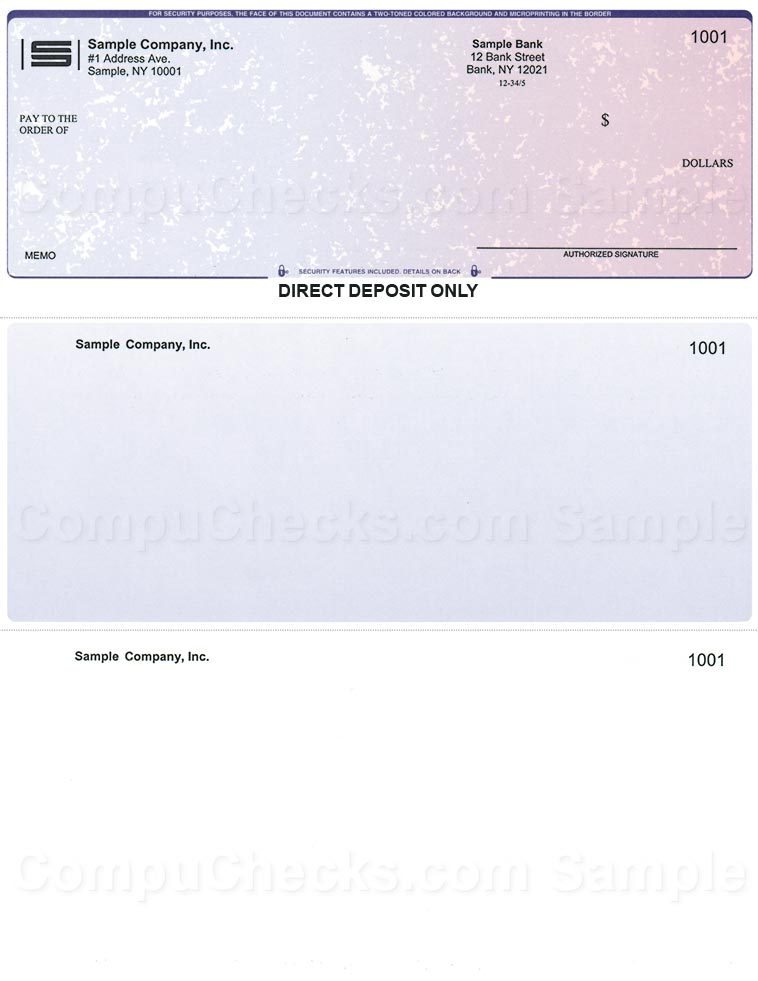 Direct Deposit Checks for QuickBooks Users Compuchecks Store – Sample Check Voucher